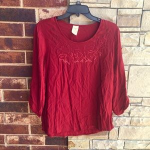 Faded Glory Burgundy Embroidery Front Top Wm 8-10